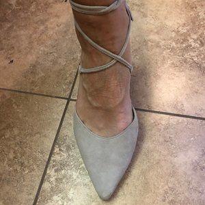 Halogen Iris Lace Up Block Heels Nude 8.5